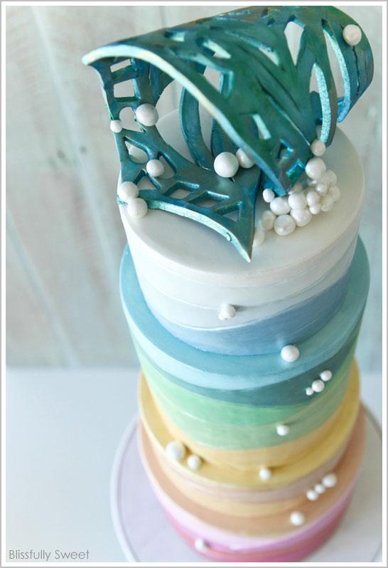 Ocean Sunset Cake by Blissfully Sweet | TheCakeBlog.com