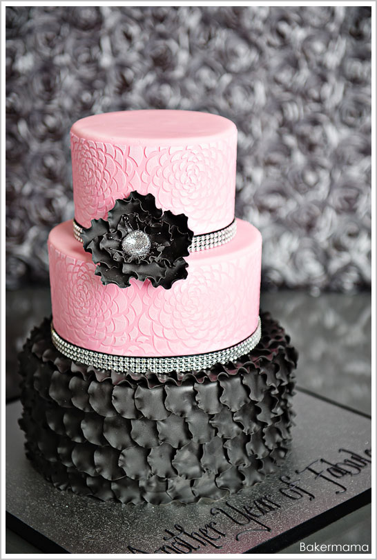 Glam Pink Amp Black Cake The Cake Blog