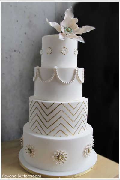 Golden Chevron Cake