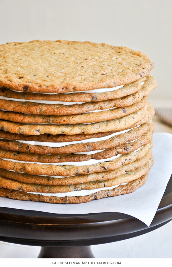 Chocolate Chip Cookie Layer Cake - the ultimate cookie cake for cookie lovers   by Carrie Sellman for TheCakeBlog.com