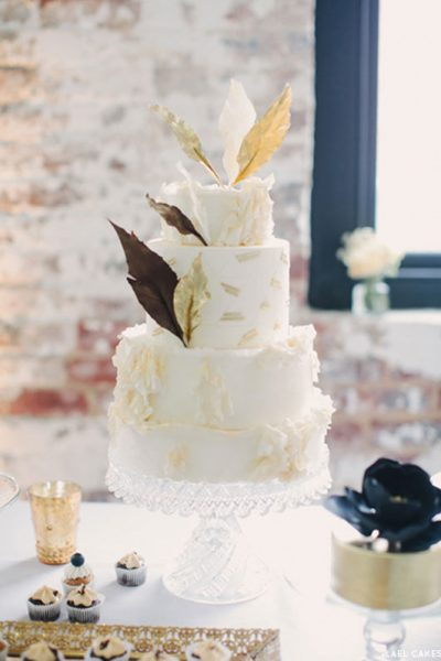 Chevron & Gold Dessert Table