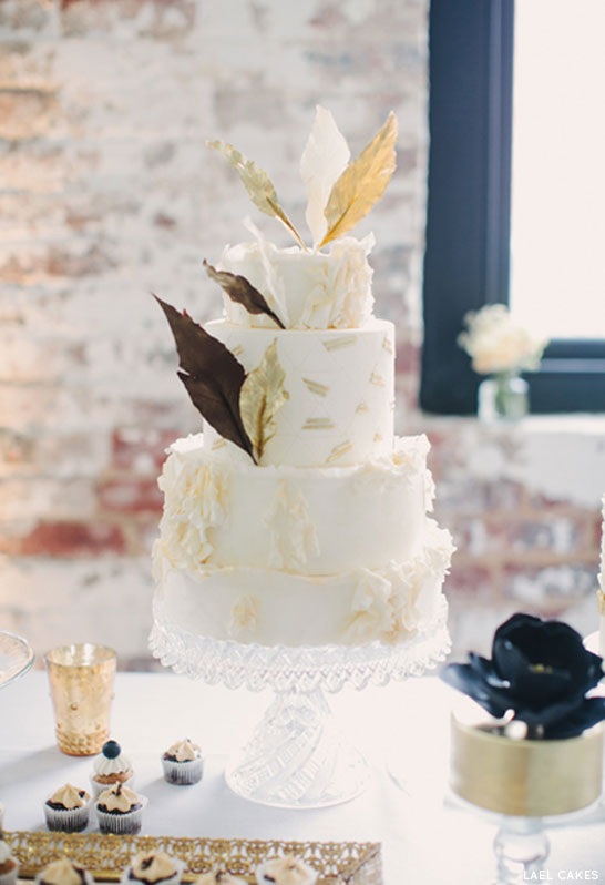 Gold Feather Cake by Lael Cakes | TheCakeBlog.com