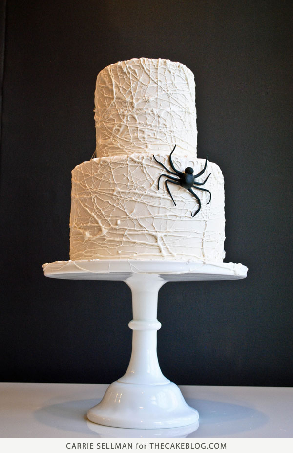 How to Make a Marshmallow Spiderweb Cake | Tutorial by Carrie Sellman for TheCakeBlog.com