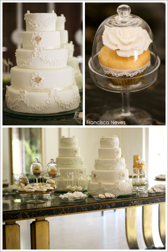 Elegant White & Gold Wedding  |  TheCakeBlog.com
