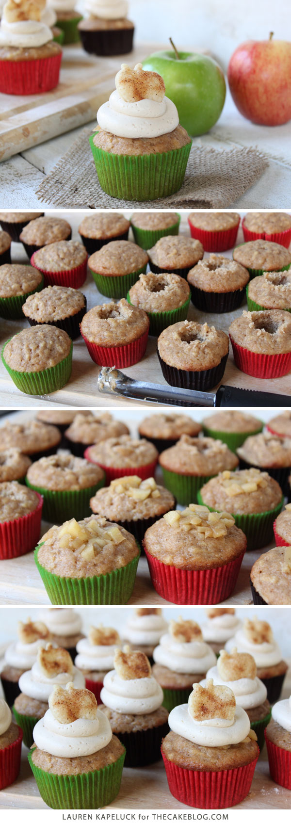 Apple Pie Cupcakes with Brown Sugar Cinnamon Frosting | by Lauren Kapeluck for TheCakeBlog.com
