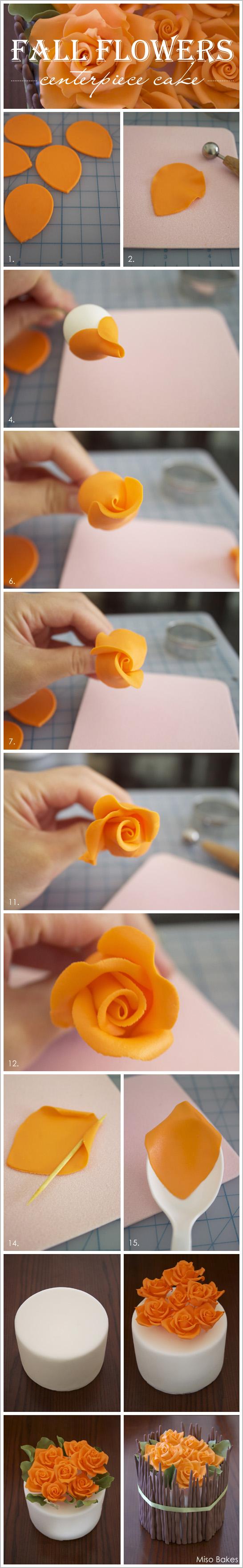 DIY Fall Flowers Centerpiece Cake