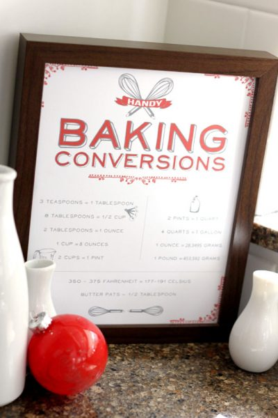 Free Printable : Vintage Baking Conversions Chart