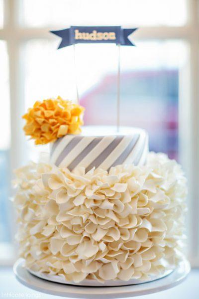 Spirals & Poms Baby Shower Cake