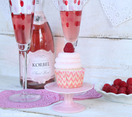 Champagne & Raspberry Cupcakes by Lauren Kapeluck | TheCakeBlog.com