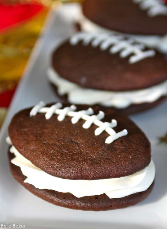 Football Whoopie Pie Recipe by Bella Baker  |  TheCakeBlog.com