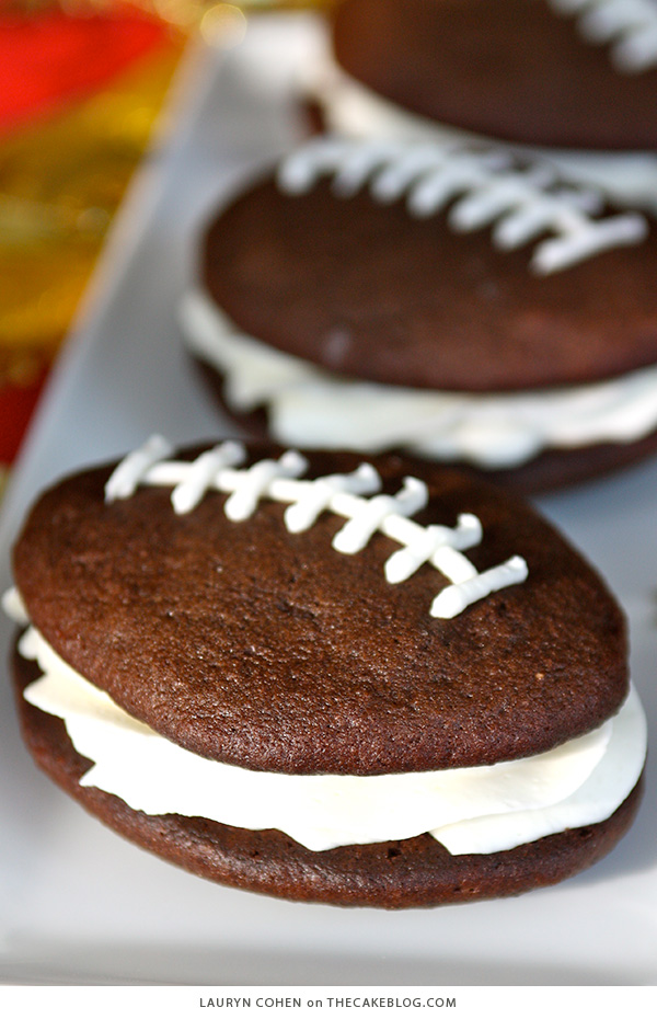 Football Whoopie Pie Recipe | on TheCakeBlog.com