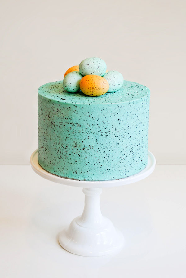 The original Speckled Egg Cake! Learn how to make this springy Easter cake with a step-by-step tutorial   by Carrie Sellman for TheCakeBlog.com