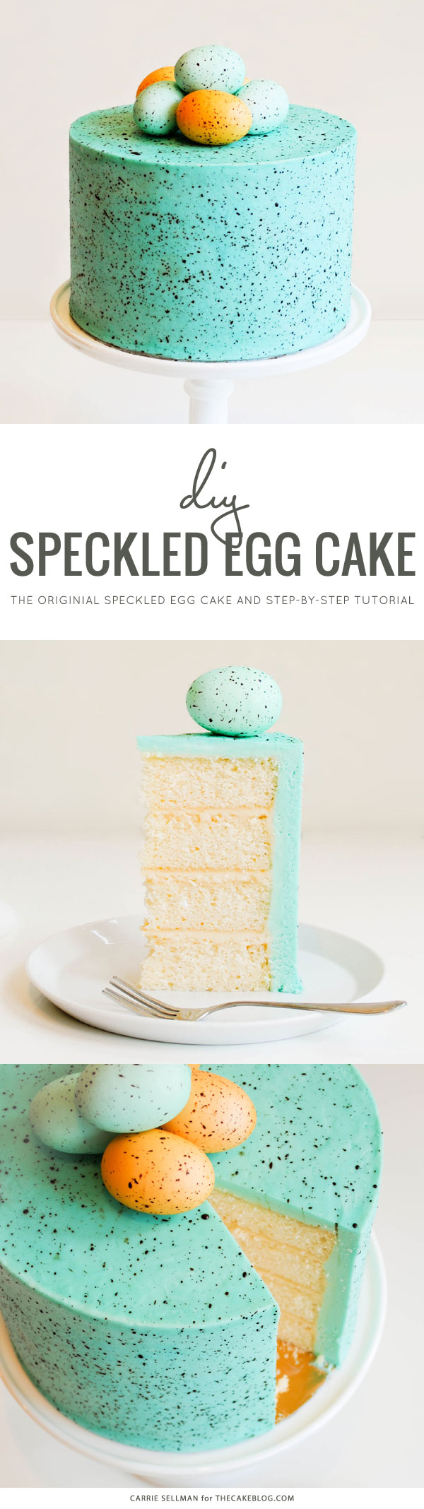The original Speckled Egg Cake! Learn how to make this springy Easter cake with a step-by-step tutorial | by Carrie Sellman for TheCakeBlog.com