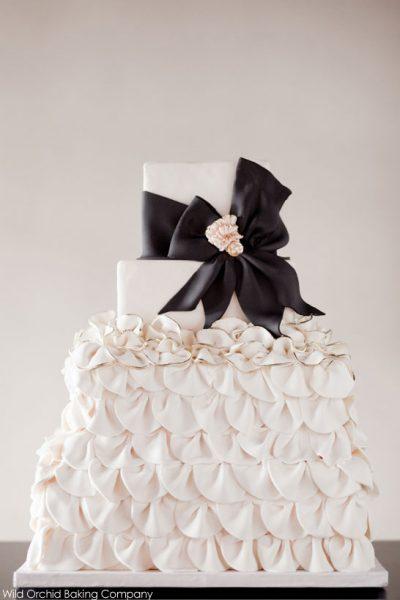 Black & Ivory Ruffle Cake