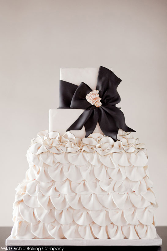 Black & Ivory Ruffle Cake by Wild Orchid Baking Co     TheCakeBlog.com
