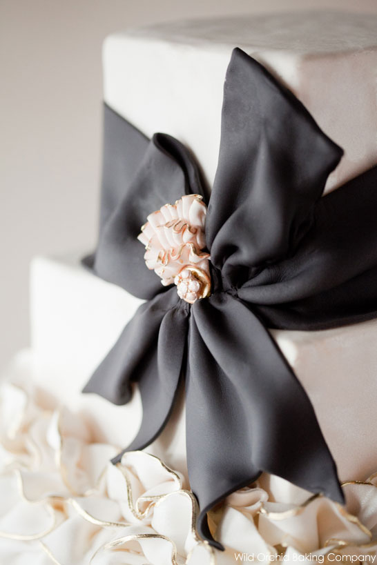 Black & Ivory Ruffle Cake by Wild Orchid Baking Co  |  TheCakeBlog.com