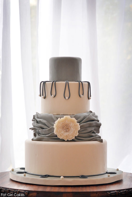 Grey Sash & Pearls by Fat Girl Cakes  |  TheCakeBlog.com