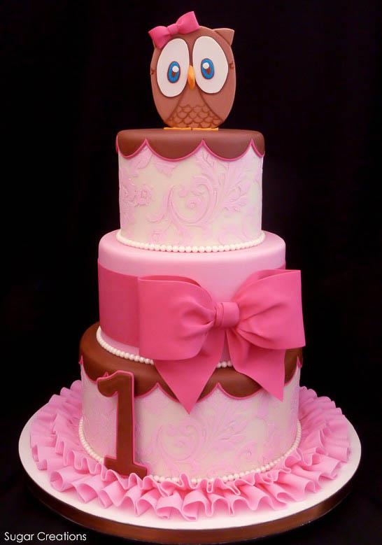 Pink Owl Cake by Sugar Creations  |  TheCakeBlog.com