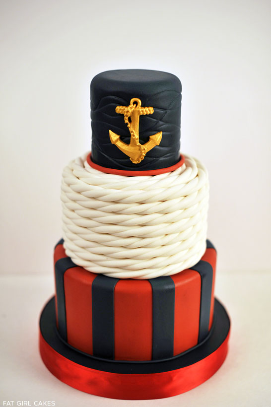 Nautical Cake by Fat Girl Cakes  |  TheCakeBlog.com