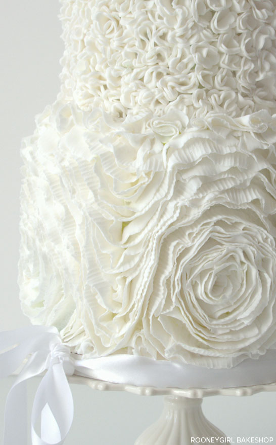 White on White Ruffles by RooneyGirl BakeShop  |  TheCakeBlog.com