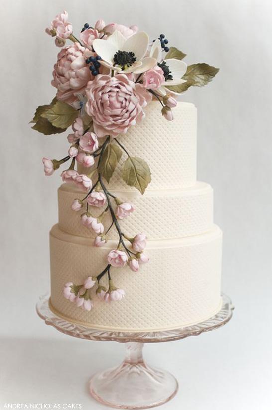 Blush Sugar Flower Cake by Andrea Nicholas  |  TheCakeBlog.com