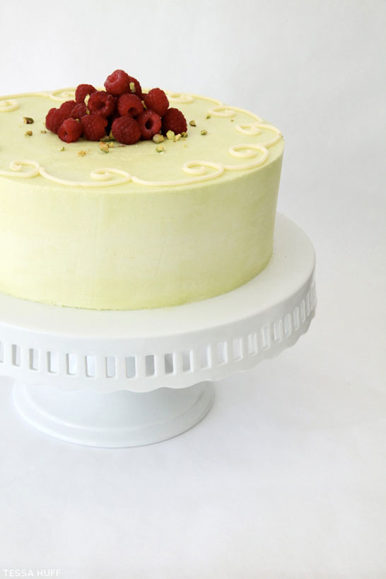 Pistachio Cake with White Chocolate and Raspberry