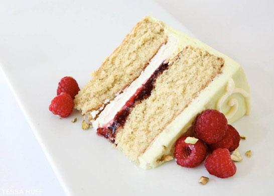 Pistachio Cake with White Chocolate & Raspberries by Tessa Huff  |  TheCakeBlog.com