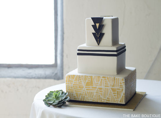 Art Deco Wedding Cake by The Bake Boutique  |  TheCakeBlog.com