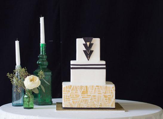 Art Deco Wedding Cake by The Bake Boutique | TheCakeBlog.com