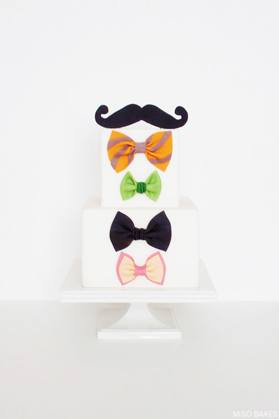 DIY Bowtie & Mustache Cake for Father's Day | by Miso Bakes | TheCakeBlog.com