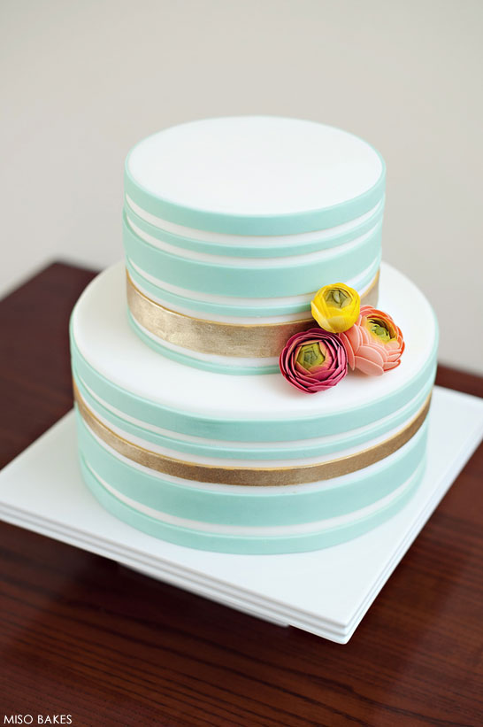 Gold Striped Cake by Miso Bakes  |  TheCakeBlog.com
