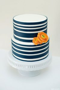 Navy Striped Cake by Miso Bakes  |  TheCakeBlog.com