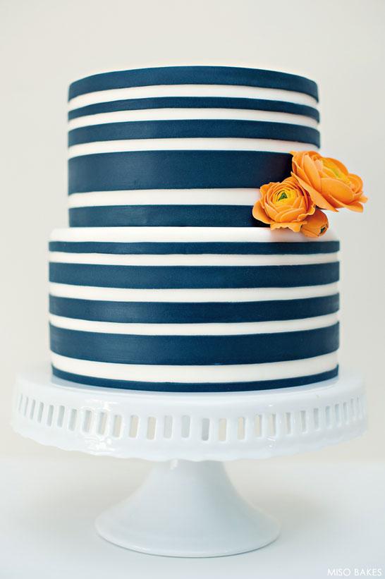 Navy Striped Cake by Miso Bakes | TheCakeBlog.com
