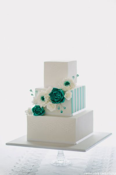 Teal & White Succulent Cake