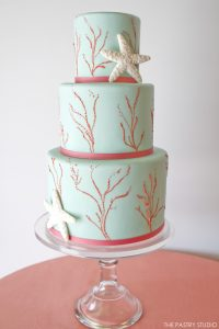 Aqua & Coral Beach Cake by The Pastry Studio  |  TheCakeBlog.com