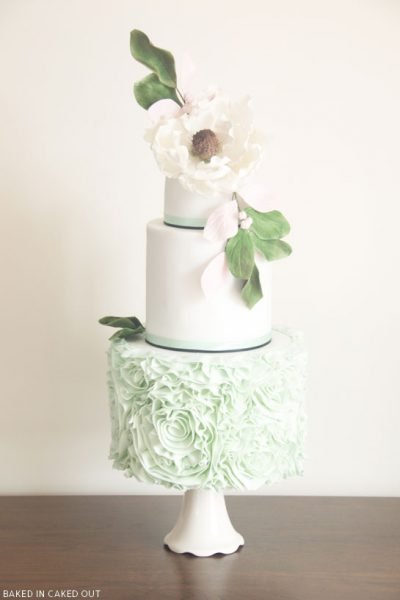 Mint Ruffled Rosette Cake