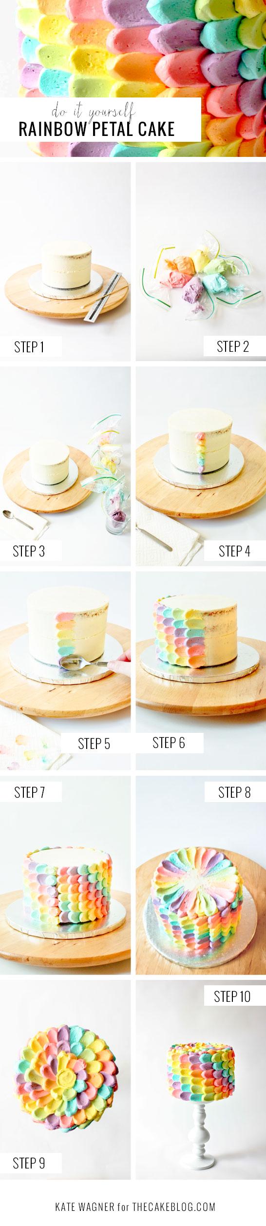 DIY Rainbow Petal Cake  |  by Kate Wagner  |  TheCakeBlog.com