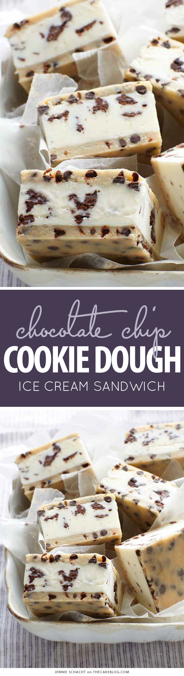 Chocolate Chip Cookie Dough Ice Cream Sandwich | by Jennie Schacht, author of I Scream Sandwich! on TheCakeBlog.com