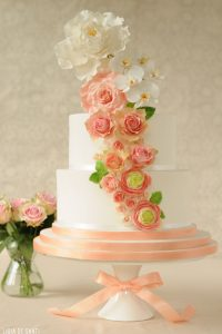 Pink, Peach & Mint Wedding Cake