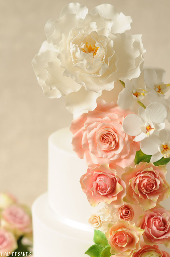 Peach & Mint Wedding Cake  |  by Ligia De Santis |  TheCakeBlog.com