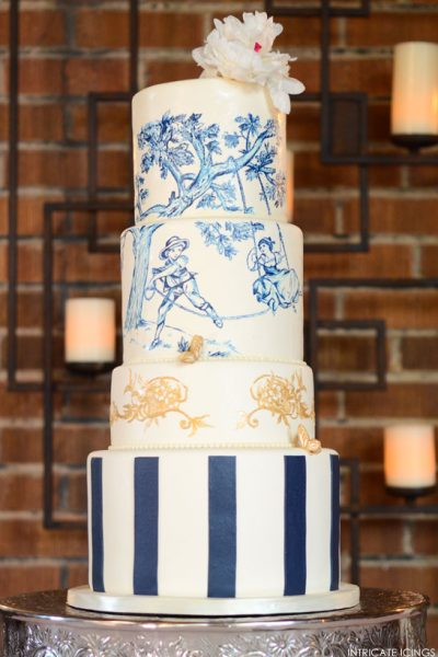 Navy & Gold Toile Cake