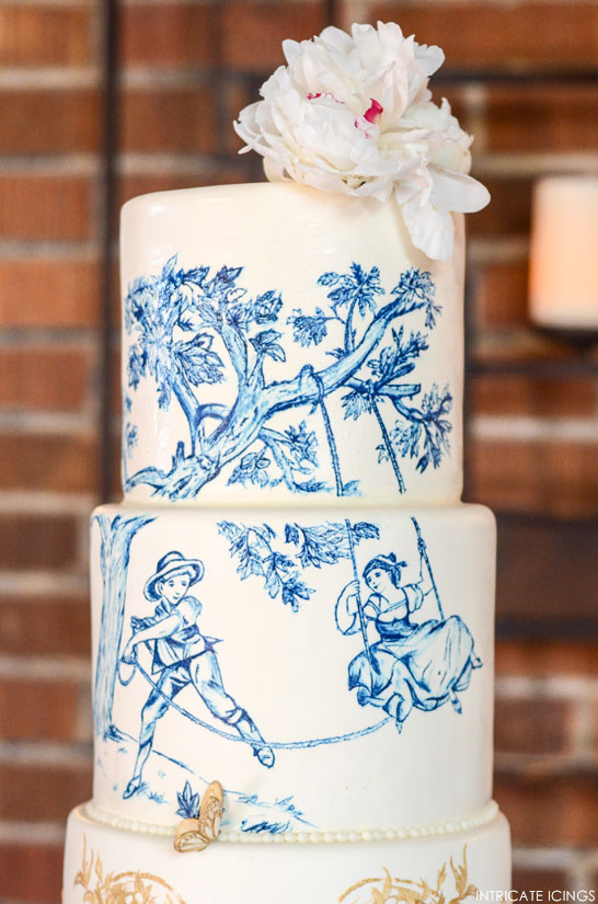 Navy & Gold Toile Wedding Cake | by Intricate Icings | TheCakeBlog.com