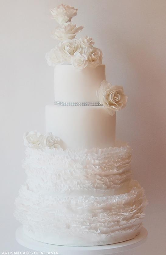 White on White Frills     by Artisan Cakes of Atlanta     TheCakeBlog.com