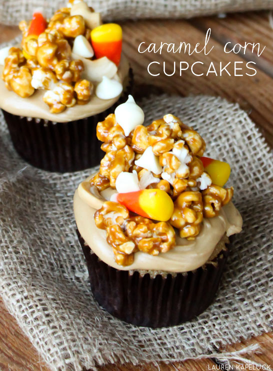Triple Caramel Cupcake with caramel corn topping | Lauren Kapeluck for TheCakeBlog.com