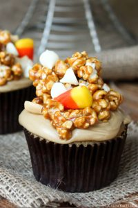 Caramel & Candy Corn Cupcake | by Lauren Kapeluck for TheCakeBlog.com