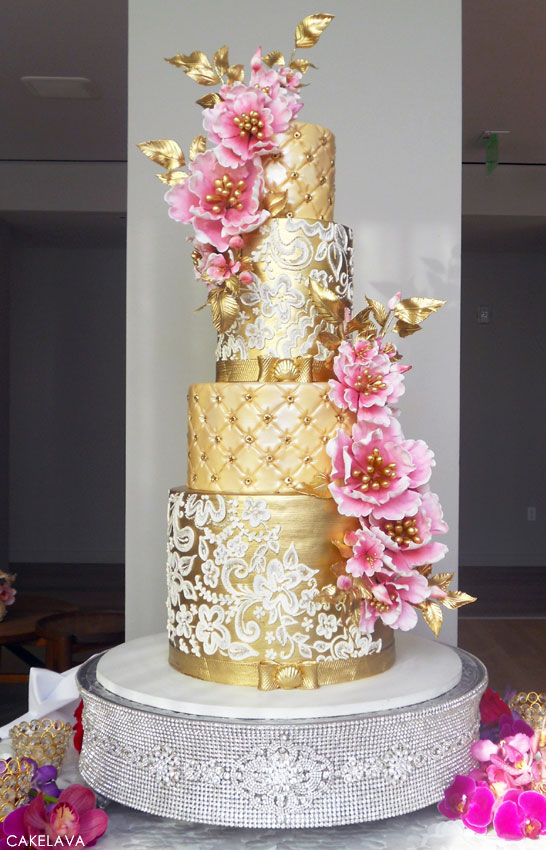 Gold & Pink Wedding Cake | by cakelava | #PinkWeek on TheCakeBlog.com