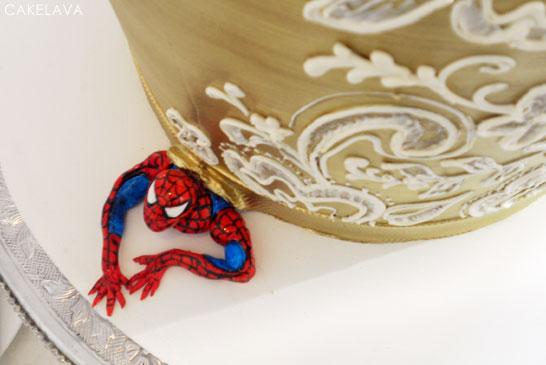 {surprise for the groom } Gold & Pink Wedding Cake   by cakelava   #PinkWeek on