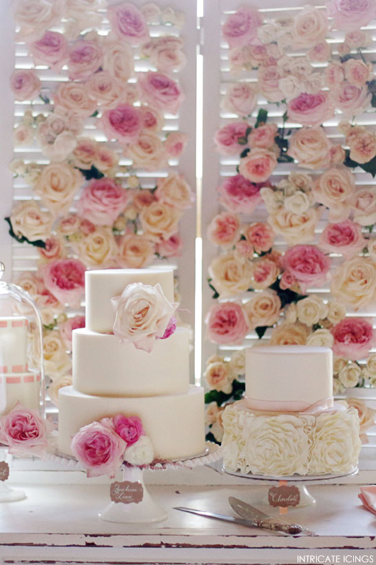 Rose Cake Display | by Intricate Icings | #PinkWeek on TheCakeBlog.com