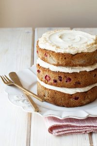 Poached Pear & Cranberry Cake