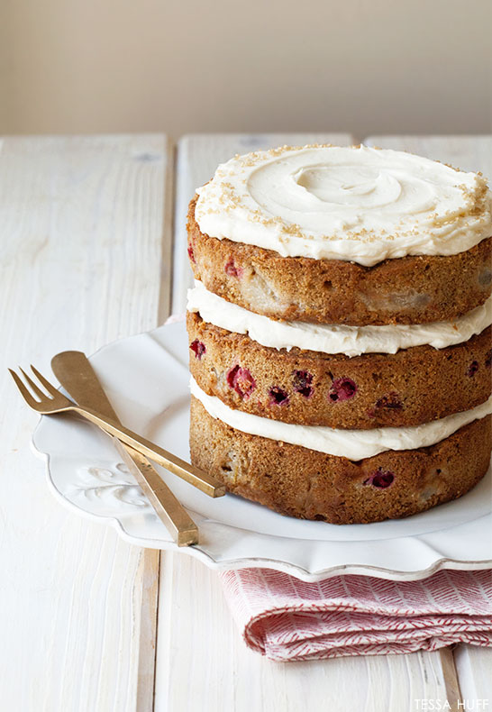 Poached Pear & Cranberry Cake | by Tessa Huff | TheCakeBlog.com